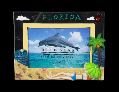 "Resin & Glass Photo Frame 4 x 6"" Sun Bather (Florida Only)"