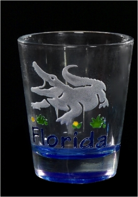 Etched Shot Glass w/ Color Base - Gator (Florida Only)