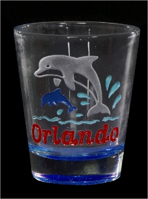 Etched Shot Glass w/ Color Base - Dolphin (Orlando Only)