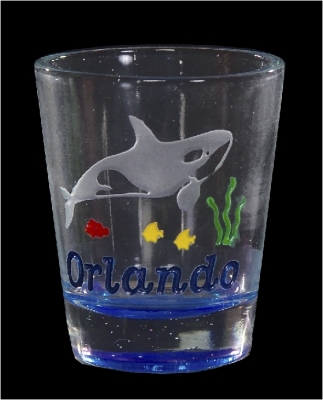 Etched Shot Glass w/ Color Base - Orca (Orlando Only)