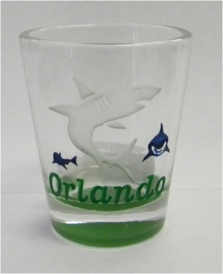 Etched Shot Glass w/ Color Base - Shark (Orlando Only)