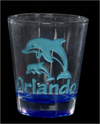 Etched Shot Glass w/ Color - Dolphin (Orlando Only)