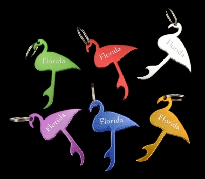 Aluminum Bottle Opener Key Chain - Flamingo