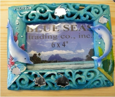 Turquoise Resin Photo Frame - Dolphin Design
