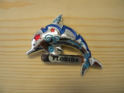 Plated Resin Magnet - Dolphin, Assorted Inlay Colors (Florida Only)