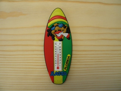 PVC Rasta Thermometer Magnet - Surf Board (Florida Only)
