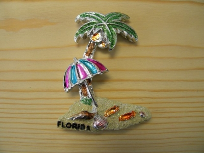 Plated Resin Magnet - Palm Tree & Umbrella (Florida Only)
