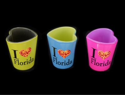 1164 - Heart Shaped Shot Glass (Three Assorted Colors)