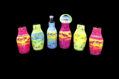 Neoprene Bottle Coolie - Tropical Design (Assorted Colors)
