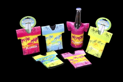 Neoprene T-Shirt Bottle Coolie - Tropical Design (Assorted Colors)