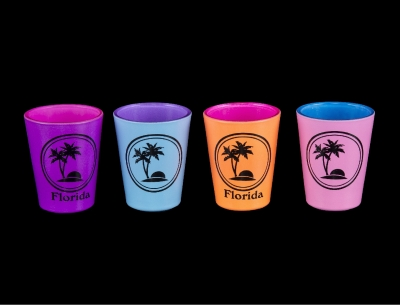 Double Neon Shot Glass w/ Palm Tree Design - 4 Assorted Colors