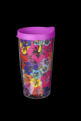 Travel Cup Double Wall Insulated - Hibiscus Design
