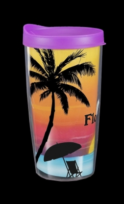 Travel Cup Double Wall Insulated - Sunset Palm Design