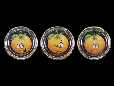 "Glass Ashtray Funny Face Orange Design 4"" Diameter"