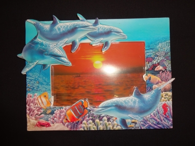 "3-D Dolphin Resin Photo Frame (4 x 6"")"