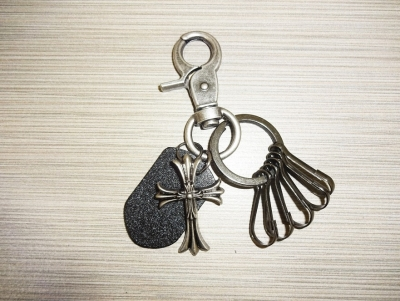 Metal & Leather Keychain - Cross