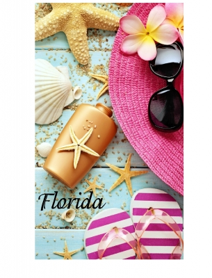 1581 - Beach Towel Sunglass, Flip Flop & Hat Design