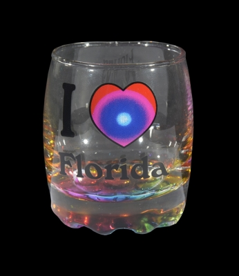 1600 - Bubble Shot Glass. Multi Color Bottom.