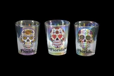 1602 - Sugar Skull Shot Glass. Iridescent Finish
