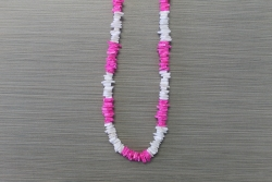 N-8340 - Pink and White Chip Necklace 18""