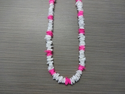 N-8508 - White & Neon Pink Chip Shell Necklace