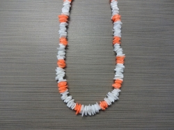 N-8509 - White & Neon Orange Chip Shell Necklace