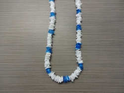 N-8510 - White & Neon Blue Chip Shell Necklace