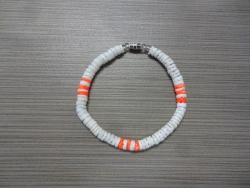 B-8988 - White & Neon Orange Clam Shell Bracelet