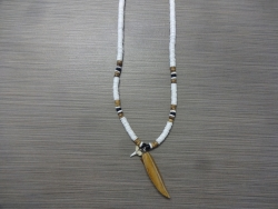 SN-8146 - Shark Tooth & Surfboard Clam Shell Necklace