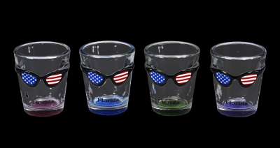 1613  -  Sunglass Shot. US Flag Design  - 4 Assorted Colors