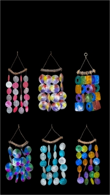 C-207 Capiz Wind Chime Assortment.  Sold as set of 12 Pieces (6 Designs - 2 of Each Design in Set)