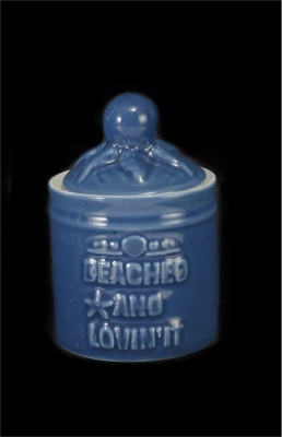 1614 - Blue Glaze Ceramic Trinket Jar 4""