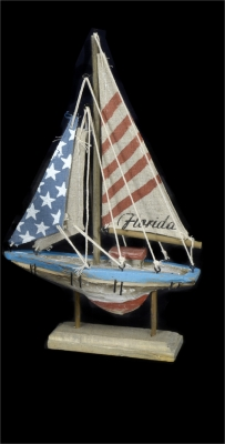 1634 - Wooden Sail Boat - US Flag Design