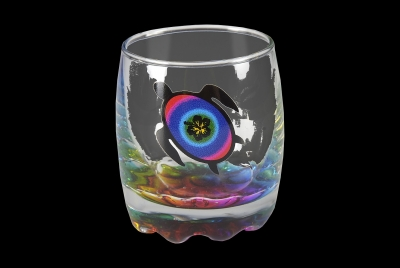 1644 - Bubble Shot Glass. Turtle Design. Multi Color Bottom.