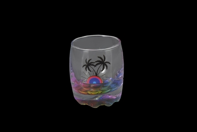 1645 - Bubble Shot Glass. Palm Design. Multi Color Bottom.