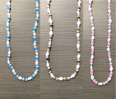 N-8558 - Heishi & White Nassa Necklace