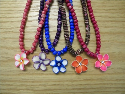 N-8456 - Fimo Flower on Beaded Necklace - Asst. Colors