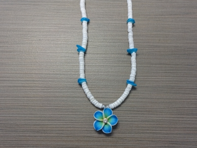 N-8512 - Fimo Flower on Clam Shell Necklace - Turquoise