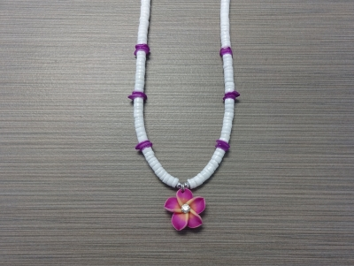 N-8514 - Fimo Flower on Clam Shell Necklace - Purple