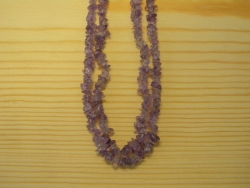 N-8266 - Stone Chip Necklace - Amethyst