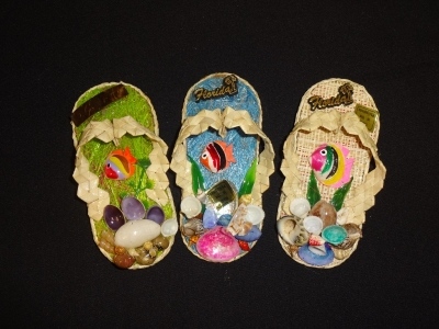 3165 - Raffia Flip Flop Magnet - Assorted Colors