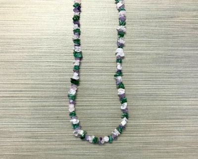 N-8258 - Single Strand Stone Chip Necklace - Purple, Green and White
