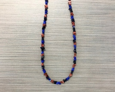 N-8260 - Single Strand Stone Chip Necklace - Black, Blue and Brown