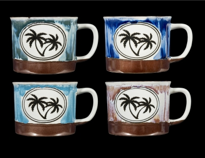 1666 - Mug - Campfire Palm Tree Design - 4 Assorted Colors