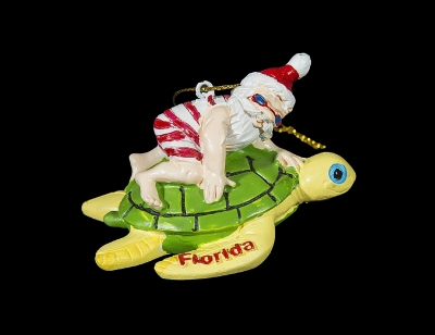 1676 - Santa on Turtle Ornament (Florida Imprint Only)