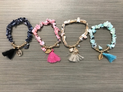 B-9016  M.O.P. Chip Bracelets (Assorted Colors)