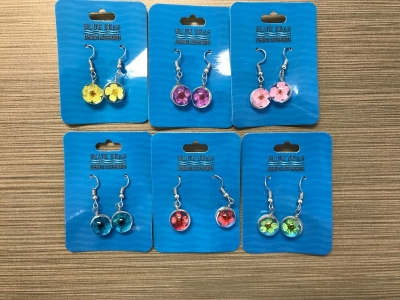 ER-8632 Glass Pendant Flower Earrings - Assorted Colors