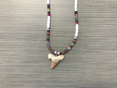 SN-8174  Shark Tooth Necklace - Multicolor Heishi