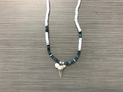SN-8176  Shark Tooth Necklace - Blue Heishi