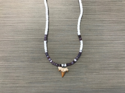 SN-8177  Shark Tooth Necklace - Purple Heishi